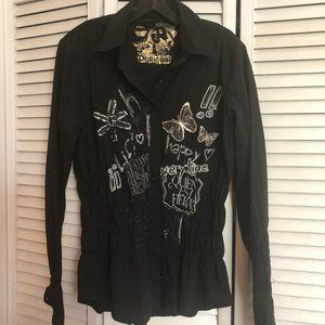 Desigual button up shirt, with embroidery